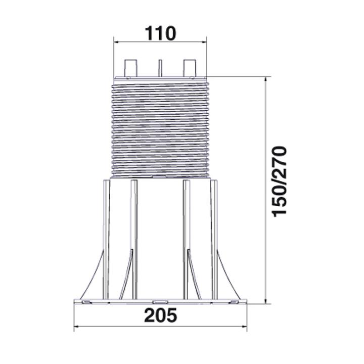 """Регулируемая опора покрытия """"NEW-MAXI"""" NM5 (150-270 mm) с двухкомпонентной головкой"""